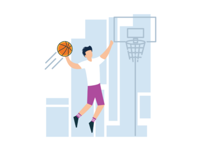 Basketball colorfull graphic jump imagination simple vector art sport basketball design illustration flat