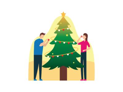 Christmas Day inspiration imagination design vector art tree simple colorfull flat illustration day christmas