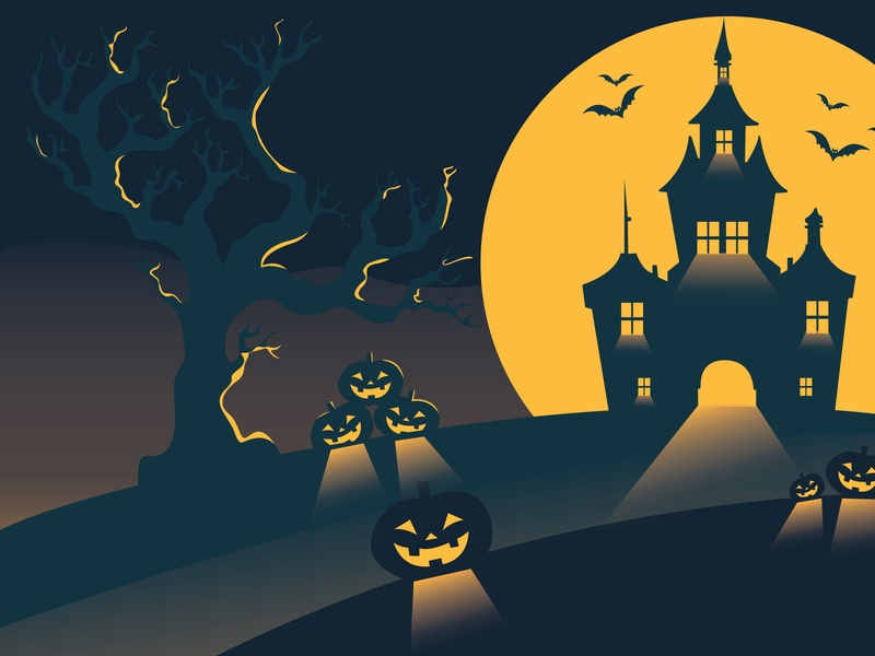 Halloween castle background scary trickortreat pumpkin halloween graphic imagination simple colorfull vector art flat design illustration