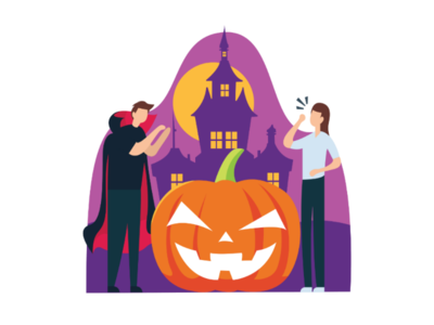 Trick Or Treat dracula castle art scary simple vector pumpkin graphic design illustration flat halloween trickortreat