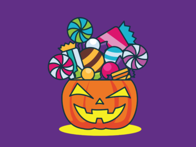 Trick or Treat simple graphic chocolate candy icon vector design flat illustration pumpkin trickortreat halloween