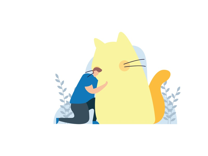 Cat Flat Illustration pet cat cute colorfull imagination simple graphic art vector flat design illustration