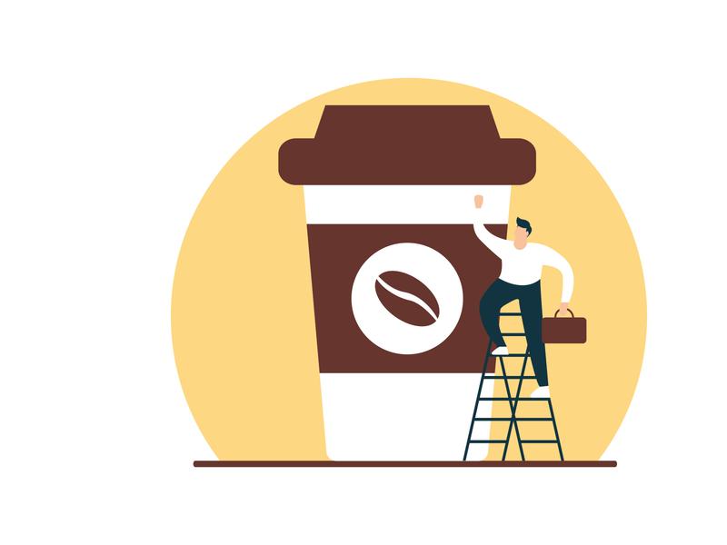 Flat Illustration Coffee concept illustrations drink coffee beach imagination colorfull simple graphic art vector flat design illustration