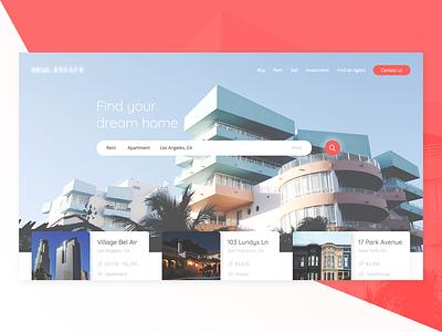 Real Estate redesign website concept real estate ui web design