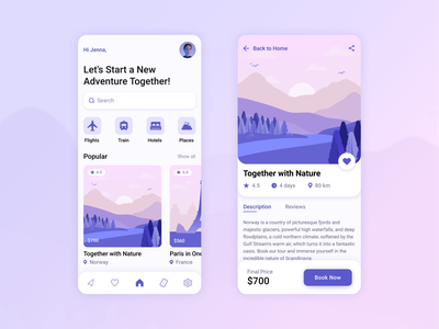 Travel service - Mobile App interface travelling travel app bright colors mobile trip planner traveling travel vector light illustration app design ux ui