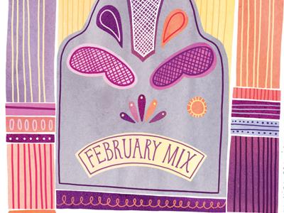 February Mix illustration watercolor watercolour digital music radio