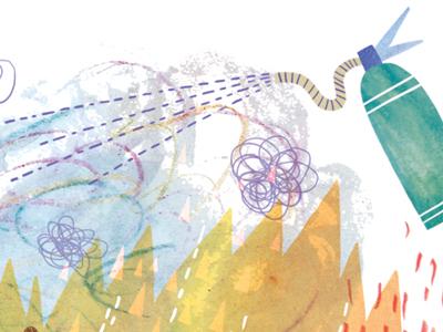 On fiya illustration watercolour watercolor digital fire smoke extinguisher flames