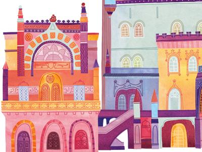 Palace illustration watercolor watercolour digital architecture castle palace portugal