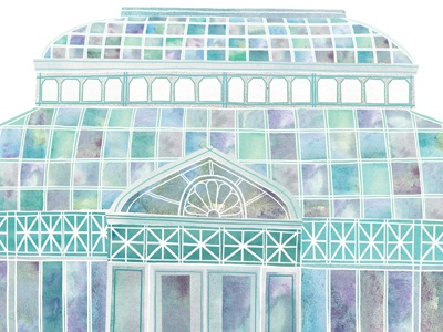 Conservatory illustration watercolour watercolor digital conservatory glass seattle architecture
