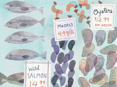Fish Market illustration watercolor watercolour digital fish shrimp oysters seafood food seattle pike place market