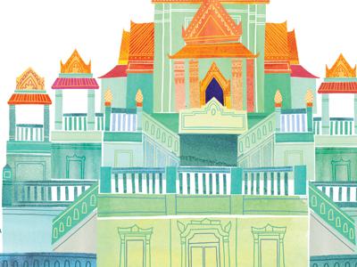 Wat Traimit illustration watercolor watercolour architecture temple wat traimit bangkok thailand