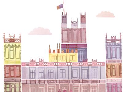 Downton illustration watercolour watercolor digital downton abbey castle building