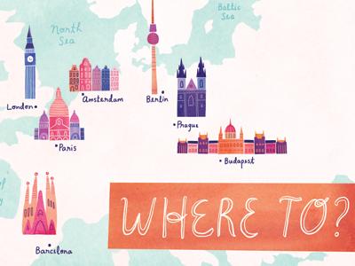 Europe, ho! europe berlin illustration watercolour watercolor digital map london amsterdam paris barcelona berline prague budapest travel
