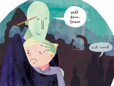 Awkward Hug illustration watercolour watercolor digital harry potter voldemort draco malfoy hug fanart ten paces