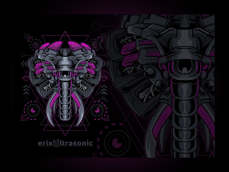 Elephant Cyborg Style Sacred Geometry creative modern technology robotic mechanic sacredgeometry robot character futuristic style elephant illustration head design cyborg animal