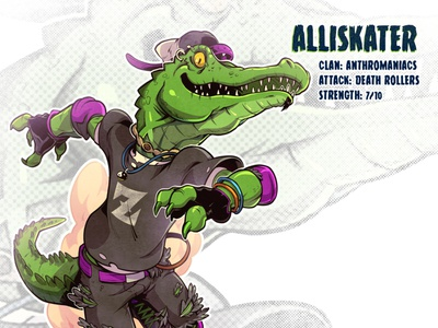 Alliskater drawing mutant tmnt character design comics comic book manga anime illustration alligator roller skate