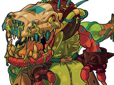 Robotosnotosaurus mutant tmnt retro trading card illustration