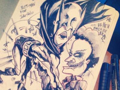 Buttman And The Joke Holio beavise and butthead batman joker illustration comic inktober