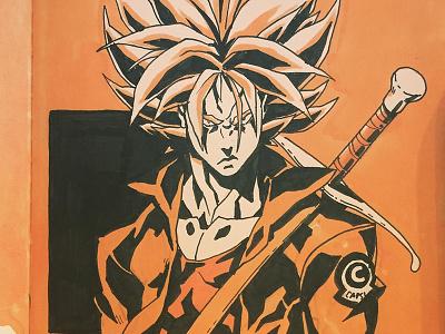 Trunks - Inktober graphic novel manga anime comic book illustration comics power rangers dragonball z dbz trunks