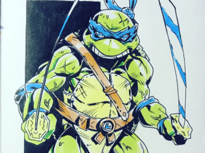 Inktober Day 5 - Leonardo character design mutants cartooning comic book teenage mutant ninja turtles manga anime comic illustration tmnt