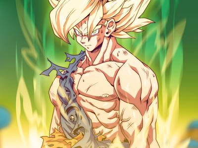Super Saiyan Goku drawing study movie action comic book manga anime illustration dragonball z goku