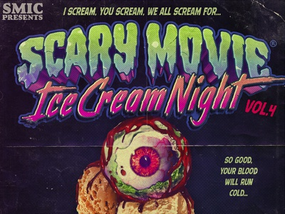 Scary Movie Ice Cream Night Podcast nostalgia 90s 80s typography podcast podcast cover horror illustration design