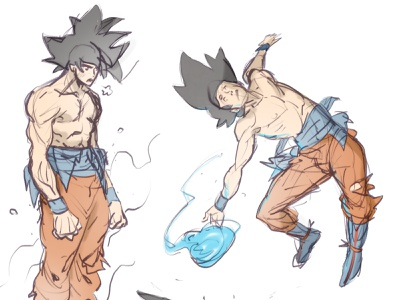 Goku Sketches dragonball z 80s punk concept art draw drawing art sketch character design comic comics comic book manga anime illustration