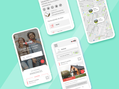Monap - Application de recherche de biens entre particuliers design mobile app mobile ui creative design website design graphic design mobile webapp webdesign website interface user experience user inteface ux ui