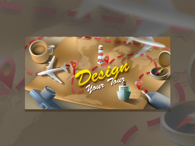 "Banner design "" Design your Tour"" design concept creative  design illustration"
