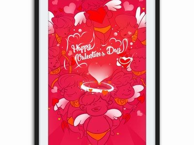 Valentine's Day Design for Mobile Wallpaper Ads design concept creative design illustration india festival design illustration content operation creative  design ads banner ads design mobile wallpaper