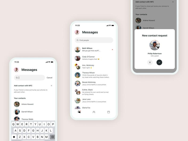 Closer • Chat list nfc messenger message social branding minimal flat ux app ui design