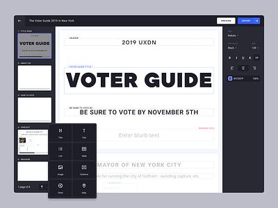 Voter Guide Builder ux dashboard constructor create editorial art editorial uxdn dark dark theme product design visual editor editor voting visual builder wysiwyg product vote
