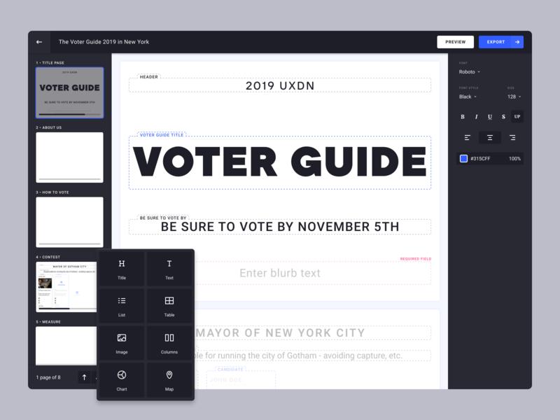 Voter Guide Builder dark dark theme product design visual editor editor voting visual builder wysiwyg product vote