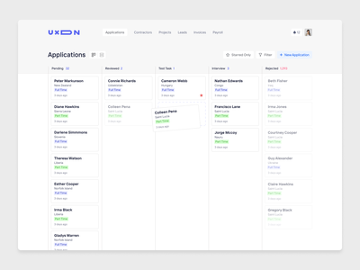 Applicant Tracking System for UXDN light theme uxdn ui ux app design product design board kanban crm complex applicant tracking system ats