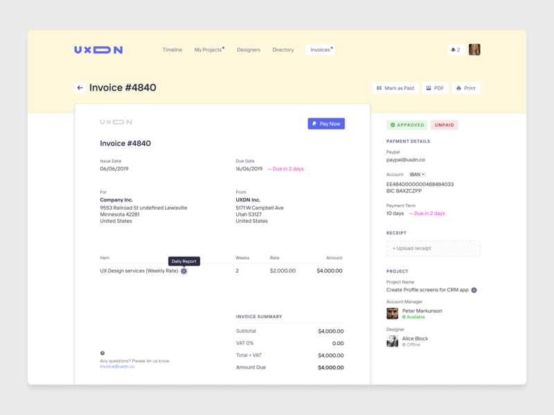 Invoice screen for UXDN