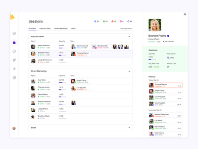 Sessions screen for 🤙Call me baby app dashboad desktop ux crm ui complex figma product design users admin admin panel management app management contact center call center agents calls erp