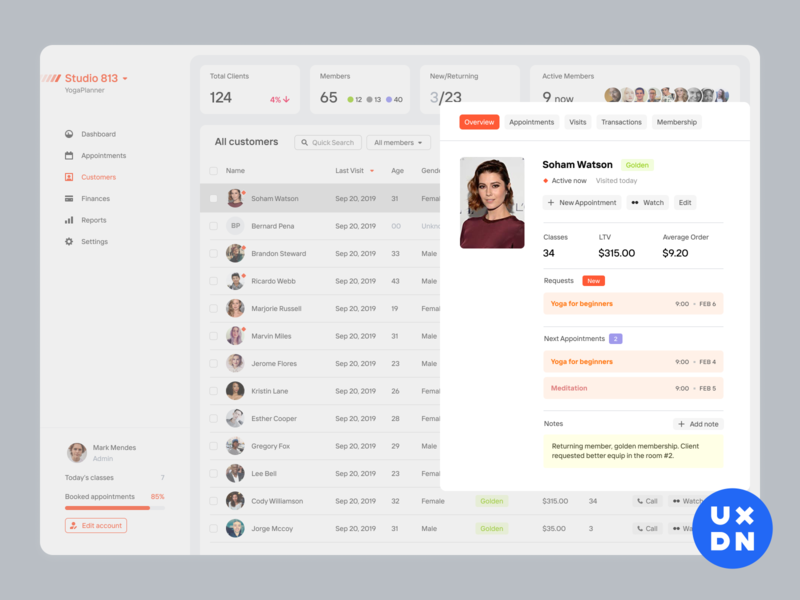 Profile preview for YogaPlanner app product dashboard uxdn product design ux ui saas complex yoga app vms erp crm yoga