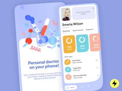 Personal doctor app product design app design fancy fancy ui medical app doctor 3d art 3d medicine medical application mobile application mobile app design mobile apps mobile design mobile ui mobile app 3d illustrations app mobile