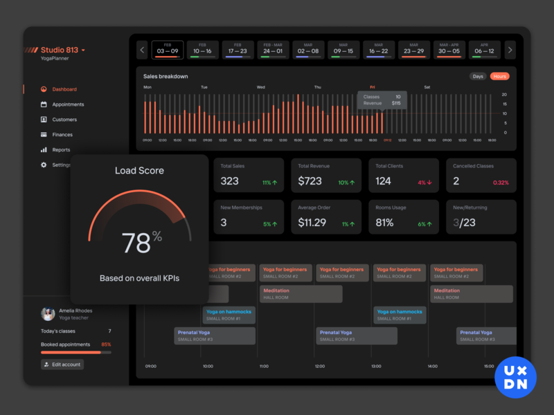 Dark mode for YogaPlanner uxui ui bookings booking ux crm complex product design dashboard design dashboard ui dashboard app dashboard dashboad yoga dark app dark theme uiux dark ui dark mode dark