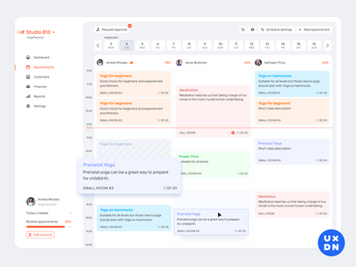 Calendar view for YogaPlanner dashboard ui dashboad crm dashboard crm software crm portal crm erp booking system booking app bookings booking calendar design calendar app calendar ui calender calendar planner yoga product design complex