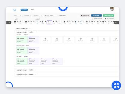 The Hub Scheduler complex erp product design construction calendar design calendar 2019 calendar app calendar ui calendar days cards crm ui ux