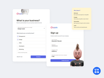 Sign Up for Qeam product design onboarding illustration onboarding screens onboarding screen onboarding ui onboarding get started register page register form register log in screen log in form log in page log in sign up screen sign up page sign up form sign up ui sign up