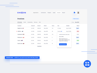Invoices for UXDN uxdn complex crm ux product design financial app finance app financial finances finance invoice template invoice funding invoice design invoices invoice