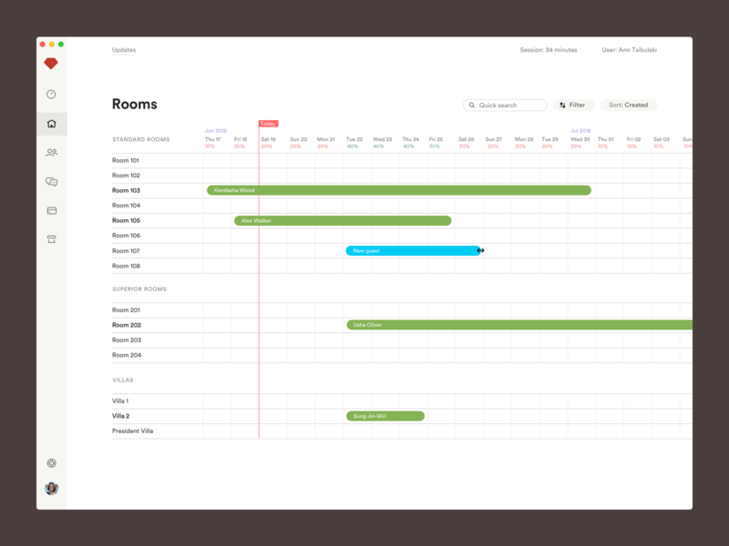 Room management timeline desk calendar white clean complex b2b saas hotel website table room management room booking hotel booking hotel app product design ui ux desktop hotels hotel crm