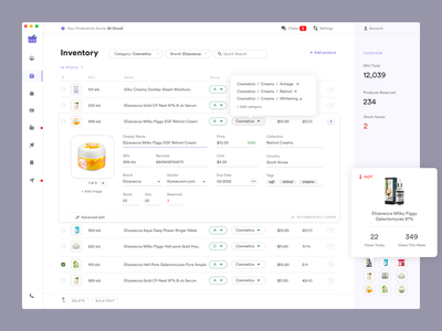 Inventory Management product management dashboard ui product design uxdn dashboard dashboad erp saas sketch complex busy ui ux ui inventory management inventory ecommerce shop ecommerce store crm