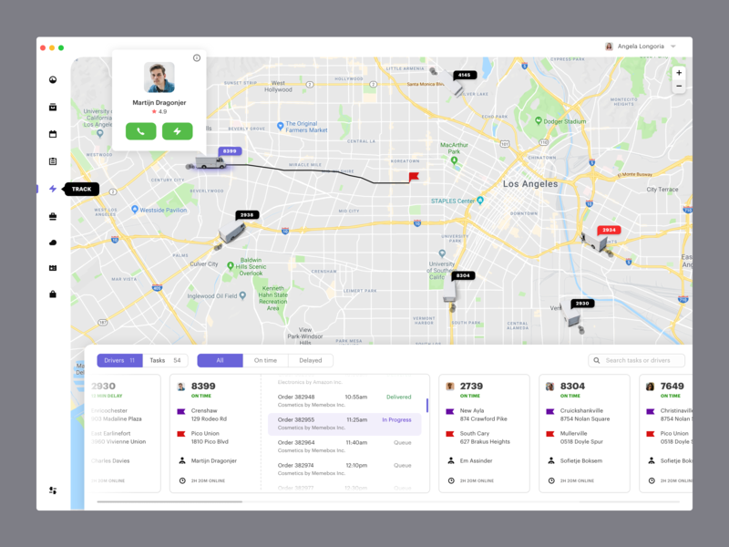 Track drivers delivery shipping curier track map dashboard complex desktop interface delivery app delivery status deliveries ux ui ecommerce