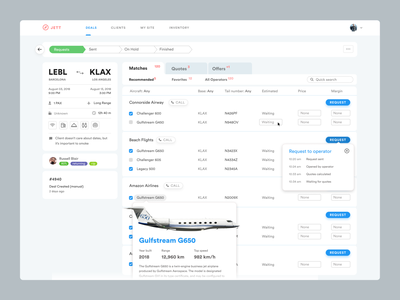Private jet flight quote building product desktop dashboard dashboad boarding jethunter flyeasy flights table complex product design ux-ui request quotes erp crm private jet jet aviation avia