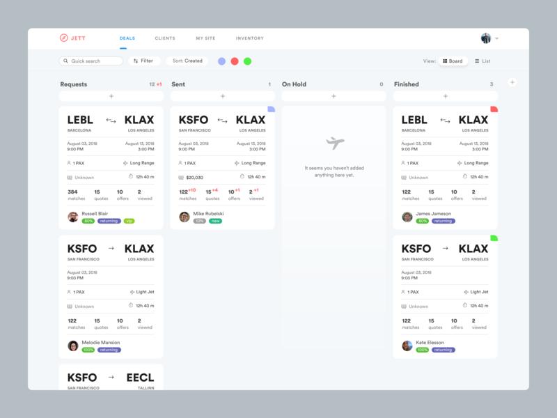 Kanban for Private aviation brokers digital digitalization erp management app air commerce complex complex ui ux private jet aviation crm board kanban