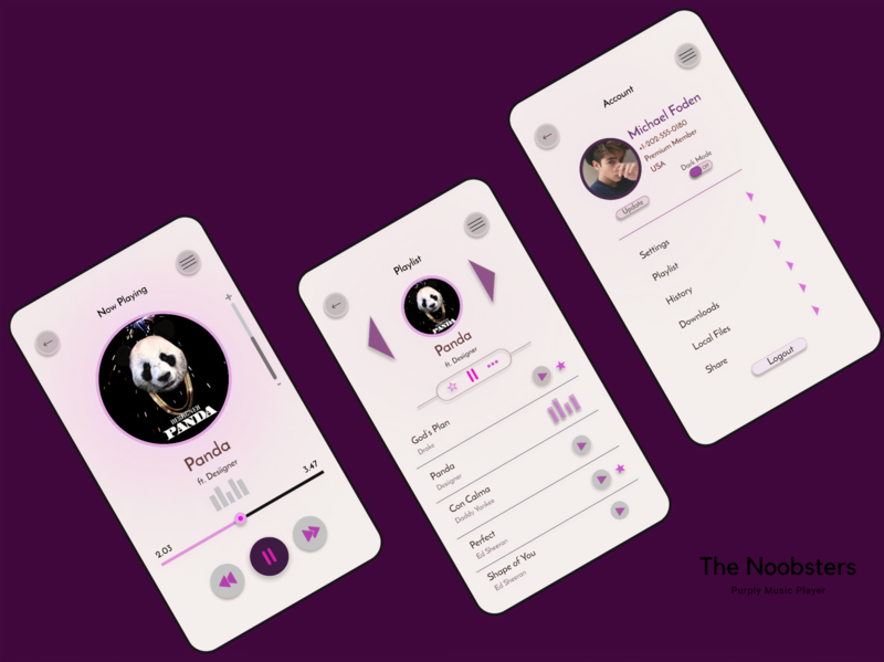 Purply Music Player playlist music app concept user design user experience userinterface uiux dark music music players flat app icon ux vector branding ui logo design illustration