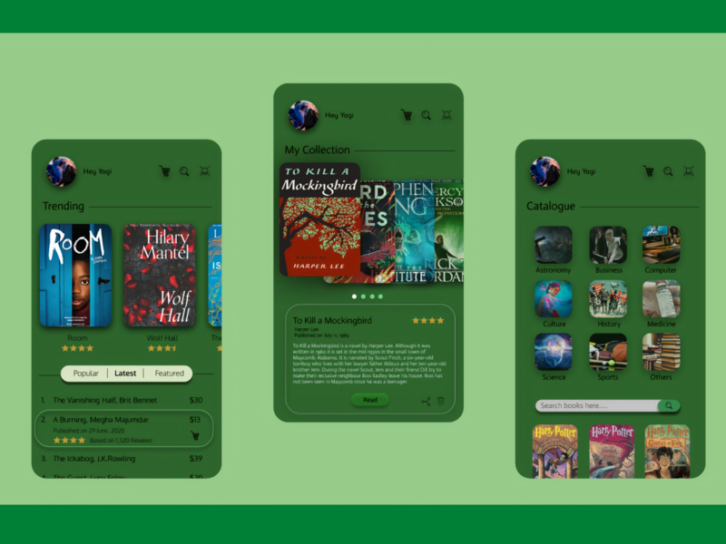 Verdant Book Store uiux collection dark green book store book concept ux userinterface user experience ui illustration flat design app